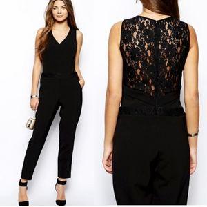 NWT PAPER DOLLS Black Jumpsuit w/ Lace Back